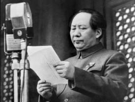 Mao Zedong 1 oktober 1949 inför slutstriden mot Kuomintang ...