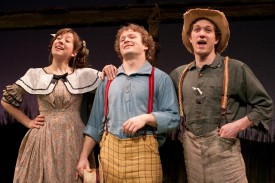 """(Left to right) Rachael Joffred as Becky Thatcher, Jefferson Haynes as Tom Sawyer, and Brian Cowden as Huckleberry Finn in Mark Twain's """"The Adventures of Tom Sawyer,"""" by Laura Eason, at People's Light & Theatre. Photo by Mark Garvin."""
