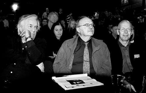 Henning Mankell, Jan Myrdal og Pål Steigan på Parkteatret under Øgrim-seminaret i 2007