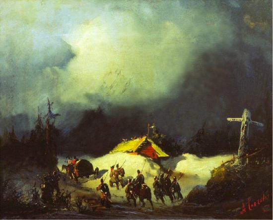 """Finland, ett otillgängligt land med mörka hotfulla skogar, främmande religion och vintrigt väder, sett med ryska ögon vana vid slätter och """"öppna landskap"""". Detta kan illustreras med Alexey Bogolyubovs tavla från 1853-54 av förvisningen av dekabrister till Finland."""