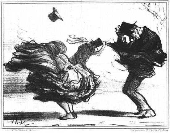 Kämpar i motvind.jpg Honoré Daumier 1808  1879 En lätt sefyr kungör vårens ankomst Le Charivari 1855