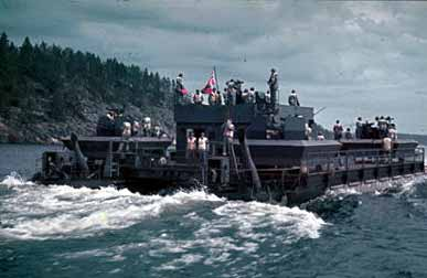 German artillery ferry boat on Lake Ladoga July 1942