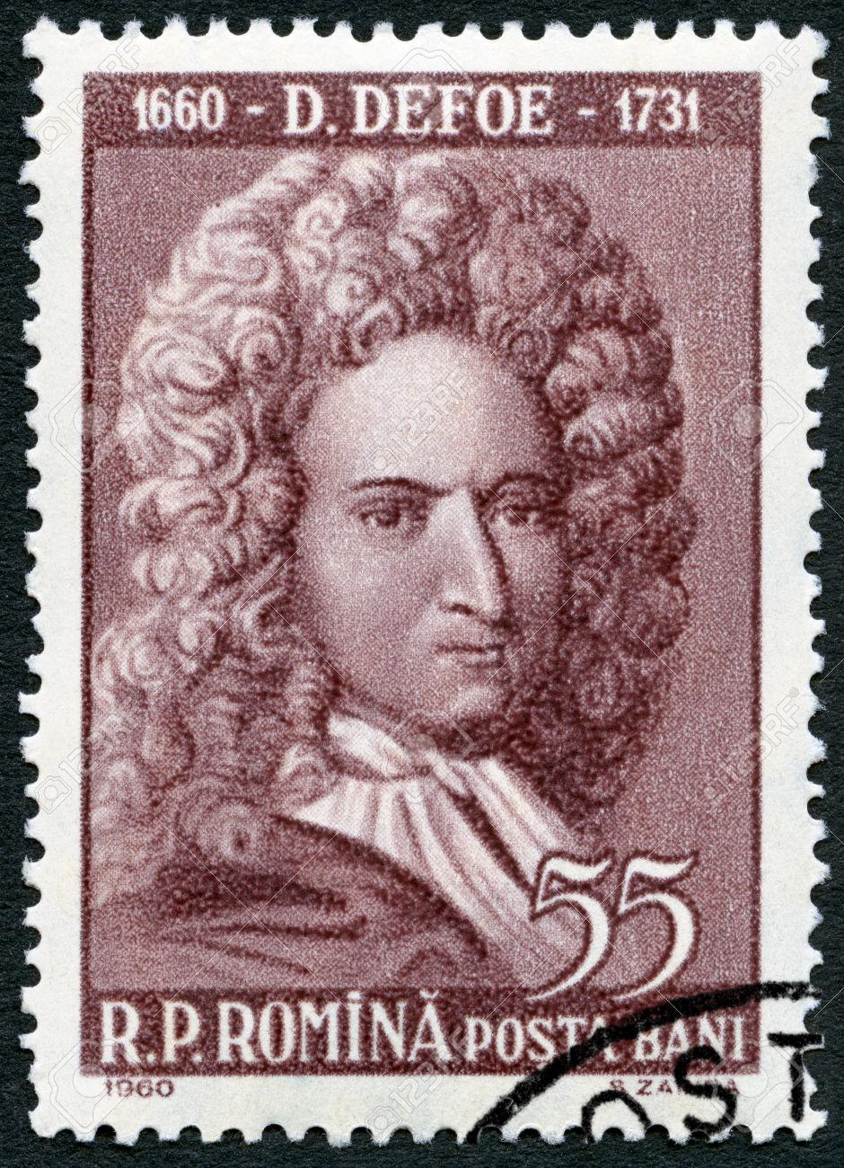ROMANIA - CIRCA 1960: A stamp printed in Romania shows Daniel Defoe (1660-1731), circa 1960