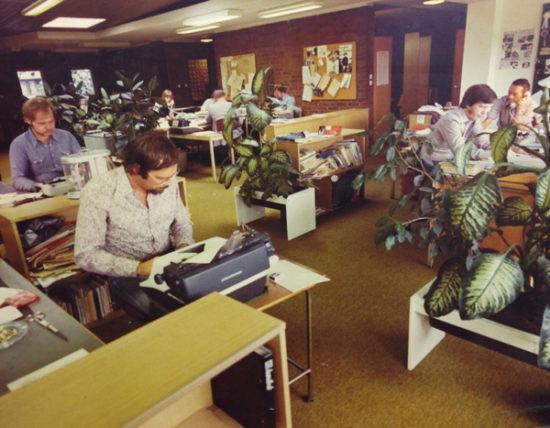 HD:s redaktion på skrivmaskinernas tid.